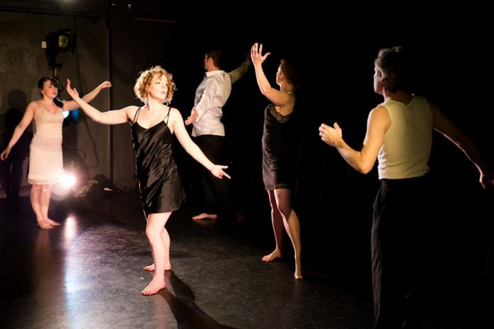 """Elizabeth Moody, Sarah McNeilly, Andrew Little, Kate Story, and Ryan Kerr performing in """"Dazzle Ships"""", which runs from January 14 to 16 at The Theatre on King in downtown Peterborough (photo: Andy Carroll)"""