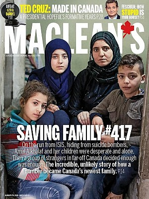 In the cover story, senior writer Michael Friscolanti tells the story of how the Alkhalaf family came to Canada (cover courtesy of Maclean's magazine)