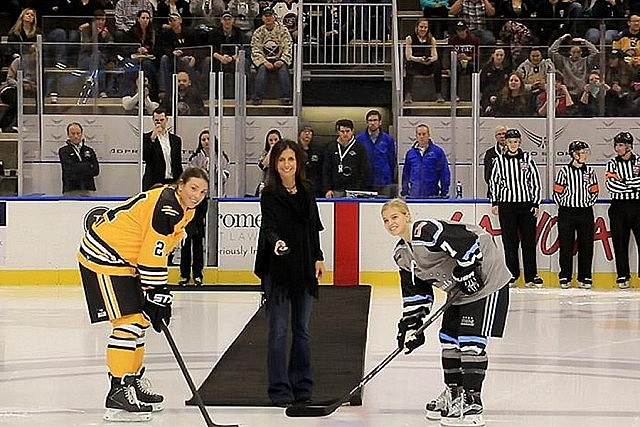 Manon Rhéaume dropping the puck at the ceremonial faceoff in October 2015 before the opening game for the National Women's Hockey League, the first-ever pro league for women