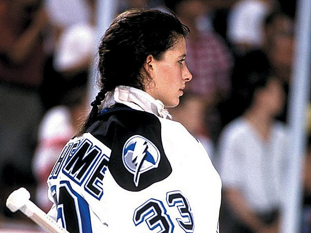 Manon Rhéaume as goalie for the Tampa Bay Lightning