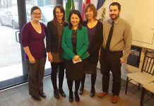 Peterborough-Kawartha MP Maryam Monsef (middle) with constituency staff Lauren, Shivaan, Marisa, and Peter. In addition to the main Peterborough constituency office, rotating offices are being held in Douro-Dummer, Trent Lakes, Seylwn, North Kawartha, and Havelock-Belmont-Methuen. (Photo: Jeannine Taylor / kawarthaNOW)