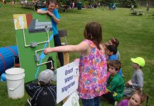 During the 2015 Peterborough Children's Water Festival, a GreenUP Ecology Park educator at The Great Water Migration interactive activity centre demonstrates how children can reduce storm water runoff and improve the quality of water that goes down our drains