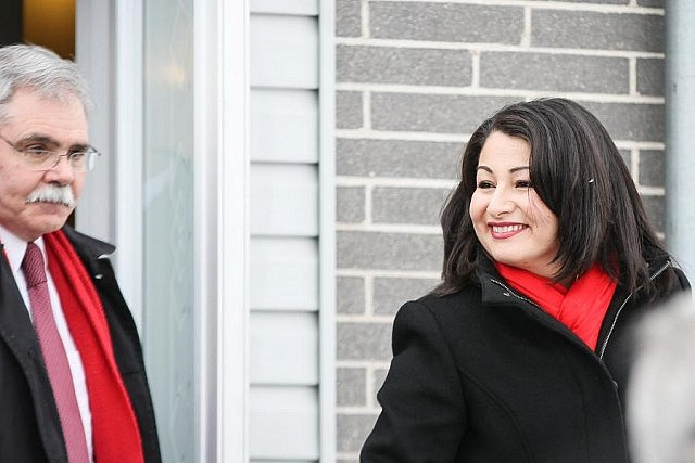 Trudeau pointed out that Peterborough welcomed Maryam Monsef and her family as refugees, and she is now serving as Minister of Democratic Institutions (photo: Linda McIlwain / kawarthaNOW)
