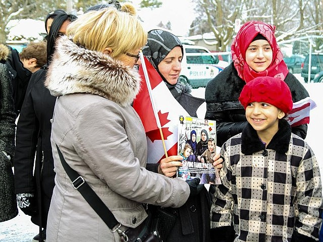 Prime Minister Trudeau thanked the local community for its efforts to welcome Syrian refugee families to Peterborough, including the Alkhalaf family profiled by Maclean's magazine (photo: Linda McIlwain / kawarthaNOW)
