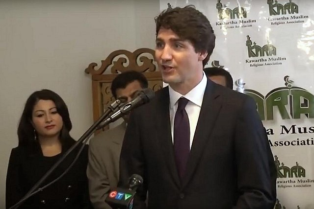 Prime Minister Justin Trudeau addressing the open house at Masjid Al-Salaam mosque, with Peterborough-Kawartha MP and Minister of Democratic Institutions Maryam Monsef in the background