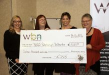 Nicole Pare and Lynn Zimmer of YWCA Peterborough Haliburton accept the $16,001.33 cheque from Denise Travers and Louise Racine of Women's Business Network of Peterborough (photo: Jeannine Taylor / kawarthaNOW)