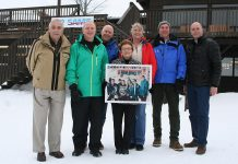 The Bishop family has been operating the family-oriented Sir Sam's Ski/Ride in Haliburton for 50 years. Founders Bob (left) and Noreen (holding the circa-1970 family photo) remain involved in the resort's operation.
