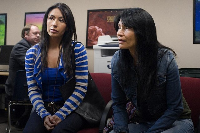 "Carmen Moore as Leona and Michelle Thrush as Gail in the hit TV series ""Blackstone"", which is in its final season"