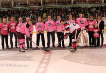 The ceremonial puck drop at Saturday night's Pink in the Rink game at the Peterborough Memorial Centre, where the Petes faced off against the Ottawa 67's