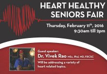 The free Heart Healthy Seniors Fair takes place from 9:30 a.m. to 2 p.m. on Thursday, February 11 at Activity Haven at 180 Barnardo Avenue in Peterborough