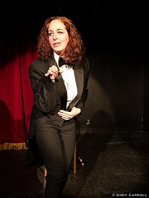 Cathy Petch plays theatre owner Mel Malarkey, the proprietor and master of ceremonies of The Vagabond Theatre