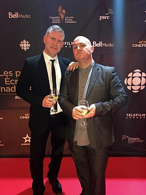Peterborough natives Chad Maker and Kirk Comrie of A71 Entertainment at the Canadian Screen Awards CBC Broadcast Gala on March 13, 2016 (photo courtesy of Chad Maker / Kirk Comrie)