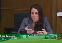 At the Committee of the Whole meeting on March 7, 2016, Town Ward Councillor Diane Therrien tabled a motion to form a citizens' committee to review councillor remuneration. The motion was carried to be voted on at a future City Council meeting. (Photo: City of Peterborough)