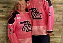 Anne Arnold with Bill Porter, Courtney's boyfriend, at Riley's wearing their commemorative 2016 Pink in the Rink jerseys (photo courtesy of Anne Arnold)