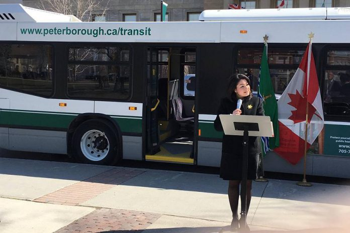 MP for Peterborough-Kawartha Maryam Monsef at the celebratory announcement of the six new transit buses, half funded through the federal gas tax fund (photo: Maryam Monsef / Facebook)
