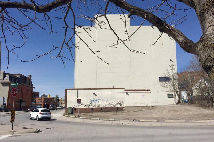 The new mural will be located on the east-facing wall of a building located near the southeast corner of Simcoe and Queen Streets in downtown Peterborough (photo: Wendy Trusler / City of Peterborough)