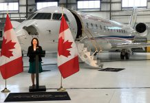 The Honourable Maryam Monsef, Minister of Democratic Institutions and Member of Parliament for Peterborough-Kawartha, making the investment announcement at Flying Colours Corp. on behalf of the Honourable Navdeep Bains, Minister of Innovation, Science and Economic Development