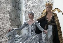 "Emily Blunt as Freya and Charlize Theron as Ravenna in ""Huntsman: Winter's War"""
