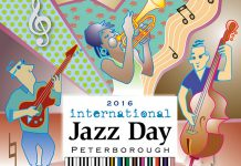 International Jazz Day Peterborough takes place on Saturday, April 30th in downtown Peterborough (graphics: Richard Peachey / Goodness Graphics)