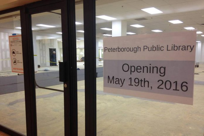 The main branch of the Peterborough Public Library will be located on the lower level of Peterborough Square in downtown Peterborough while renovations are made to the building on Alymer Street (photo: Peterborough Public Library)
