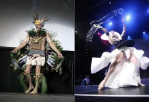Two of the Runway Challengers from Public Energy's Wearable Art Show in 2015. The 2016 Wearable Art Show featuring the Runway Challenge takes place on May 14 at Peterborough's Market Hall. (Photos: Esther Vincent / Public Energy)