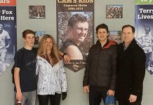 The Hicks family: Mitchell, Linda, Cameron (on poster), Andrew, and Gord. The family founded Cam's Kids in honour of Cam who, after overcoming anxiety issues as a teenager, was tragically killed by a motor vehicle at the age of 19 early in his first year at the University of Ottawa (photo courtesy of Cam's Kids)