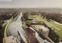 The design concept for the new location of The Canadian Canoe Museum, looking south from the Peterborough Lift Lock. At a public meeting on May 26, museum officials and representatives from the design architect team shared the inspiration behind the new design. (Photo: Samantha Moss / kawarthaNOW)