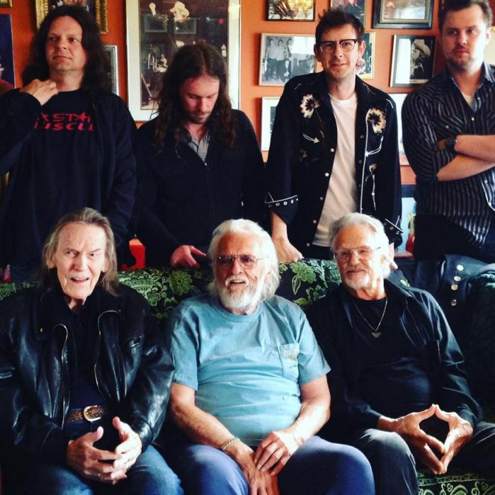 Musical generations (front to back) Gordon Lightfoot, Ronnie Hawkins, Kris Kristofferson, Robin Hawkins, Ryan Weber, James McKenty, and Sam Weber (photo: Leah Hawk / Facebook)