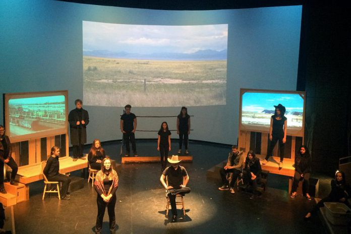 """In """"The Laramie Project"""", a play about the 1998 murder of LGBTQ college student Matthew Shepard in Wyoming, 14 Lakefield College School students take on almost 70 different roles (photo: Geoff Bemrose)"""
