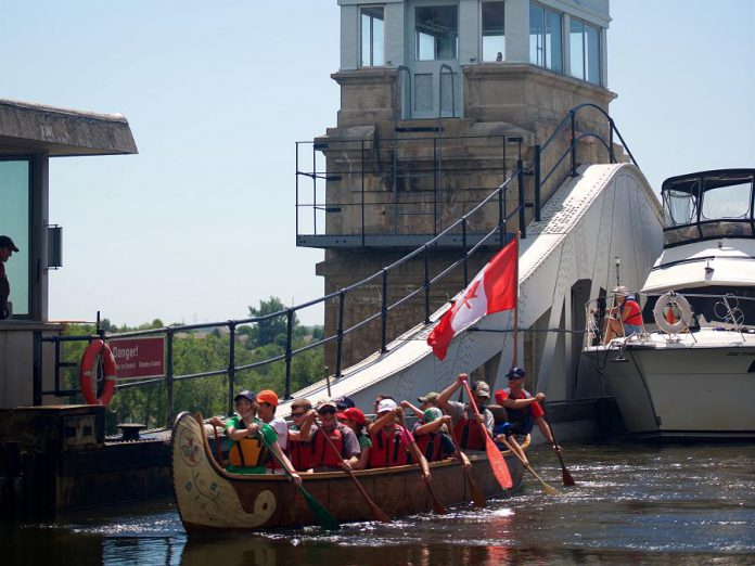 The Canadian Canoe Museum is offering its Voyageur Canoe Tours, which go through the Peterborough Lift Lock, three times a day every Friday, Saturday, Sunday, and holiday Monday from July 1 until Labour Day (photo courtesy of Canadian Canoe Museum)