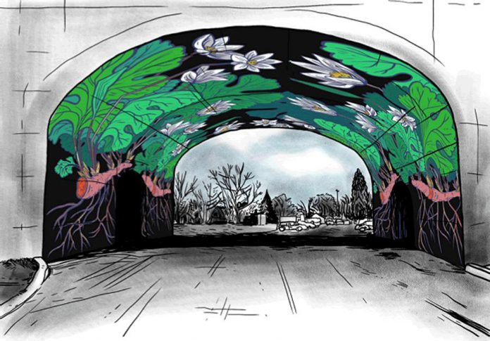 """Jill Stanton's mockup for her """"Bloodroot"""" mural; inspired by a lesser-known native wildflower, this will be the second mural to be painted under the Hunter Street Bridge in Peterborough (image: Jill Stanton)"""