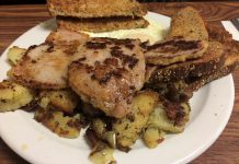 The big meat breakfast at the East City Coffee Shop featuring delicious peameal bacon (photo: Eva Fisher / kawarthaNOW)