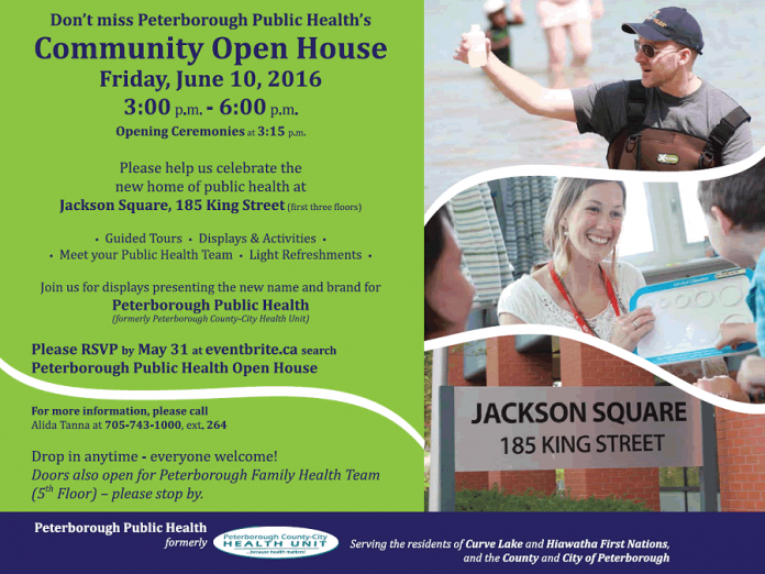 Peterborough Public Health will unveil its new branding at a community open house on June 10 at its new location at 185 King Street in downtown Peterborough