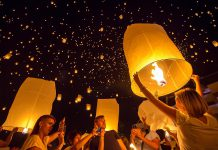Beautiful but potentially dangerous: sky lanterns being released during a religious celebration in Thailand. Some municipalities in Canada, including the City of Kawarthas Lakes, have banned the use of sky lanterns because of the risk of fire they create.