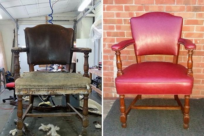 Before and after at Cherished Upholstery in Warsaw (photos: Cherished Upholstery)