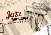 Dolce Vita Resto in downtown Peterborough now has live jazz on Thursday nights; reservations are recommended (graphic: Dolce Vita Resto / Facebook)