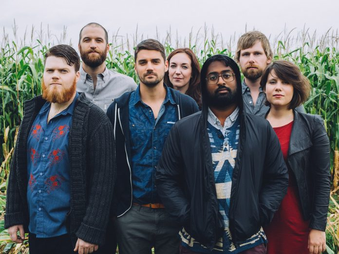 Newfoundland-based indie rock band Hey Rosetta! performs at Peterborough Musicfest on July 13. Founder Tim Baker (third from left), who was fascinated by anthropology in university, named the band after the Rosetta Stone and how it opened up a different way of seeing the world (photo: Scott Blackburn)