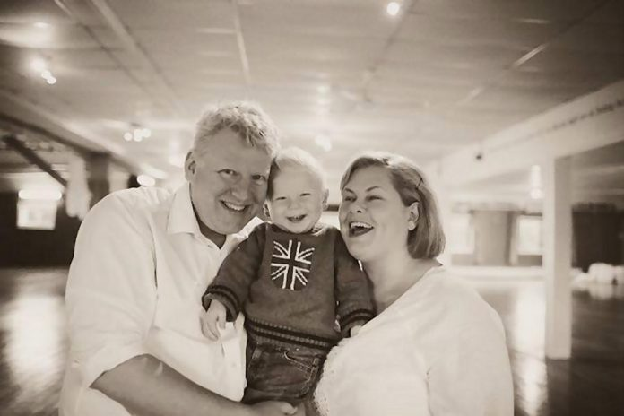 James Barrett and Sarah Quick, founders of Globus Theatre and Lakefield Arts Barn in Bobcaygeon, with their son Cue