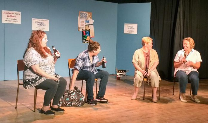"""Nikki Duval as Mary, Tina Moreau as Barb, Sarah Quick as Amanda, and Jeanine Profeta as Terri in """"Knickers! A Brief Comedy"""" at Globus Theatre in Bobcaygeon (photo: Sam Tweedle / kawarthaNOW)"""