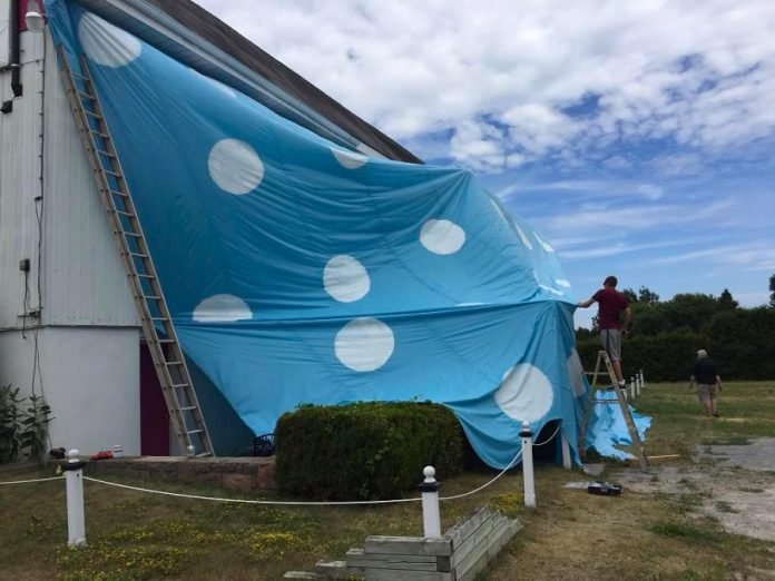 """Globus Theatre will unveil the world's largest pair of underwear at Lakeview Arts Barn in Bobcaygeon on July 26th to promote the restaging of """"Knickers: A Brief Comedy"""", written by Sarah Quick"""