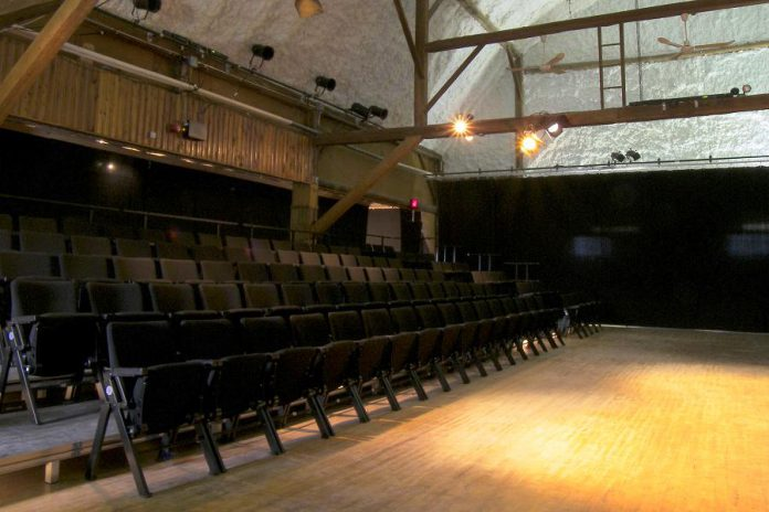 A view of the Globus Theatre stage at the Lakeview Arts Barn
