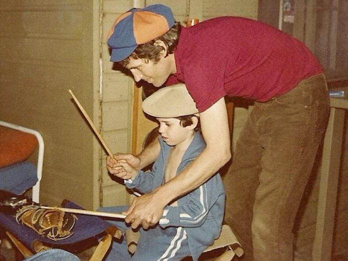 The Band's Levon Helm teaching drum licks to his godson Jerome Avis, who will be performing with The Last Waltz (photo: Jerome Avis)