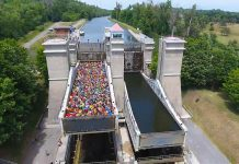 A screenshot from the drone video showing the 138 canoes and kayaks being lifted in the Peterborough Lift Lock