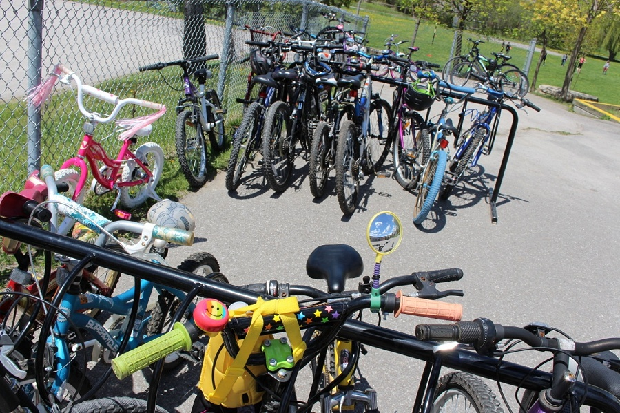 5825d655817 Bicycles locked up at Highland Heights Elementary School this spring; the  Active and Safe Routes
