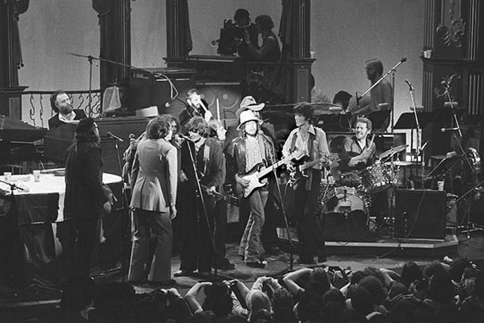 "The Band, with Bob Dylan and other guests, performing ""I Shall Be Released"" in 1976 (photo: Wikipedia)"