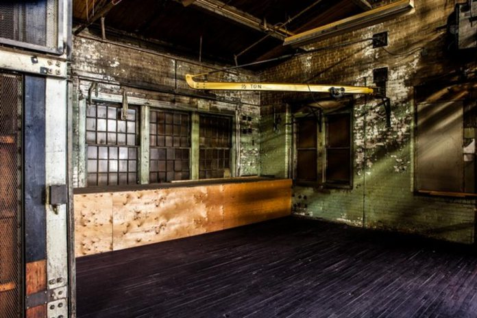 Building 8 gallery; historically, munitions were built in this area during the war (photo courtesy of Wayne Eardley)