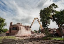 Demolition of Building 7, one of a series of photographs by Wayne Eardley of the historic buildings of General Electric in Peterborough (photo courtesy of Wayne Eardley)