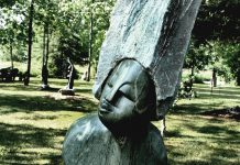 """""""Proud Woman"""", a green marble sculpture by Walter Mariga, in Zimart's sculpture garden (photo: Shannon Taylor)"""