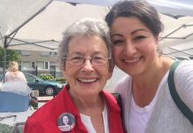 Peterborough icon Erica Cherney, pictured here with Peterborough-Kawartha MP Maryam Monsef prior to her election in 2015, has passed away (photo: Maryam Monsef / Twitter)