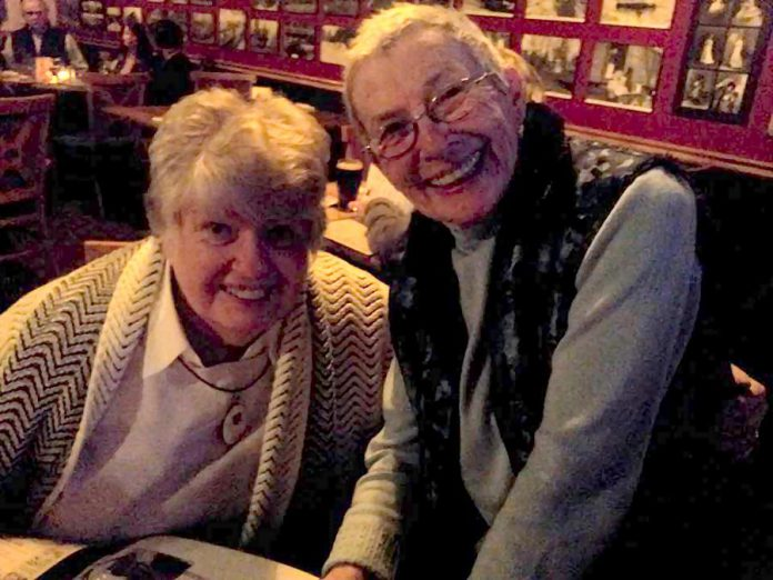 Former Peterborough mayor Sylvia Sutherland with her friend Erica Cherney at The Black Horse Pub in 2015 at a birthday celebration for Donna Clarke (photo: Jeannine Taylor)